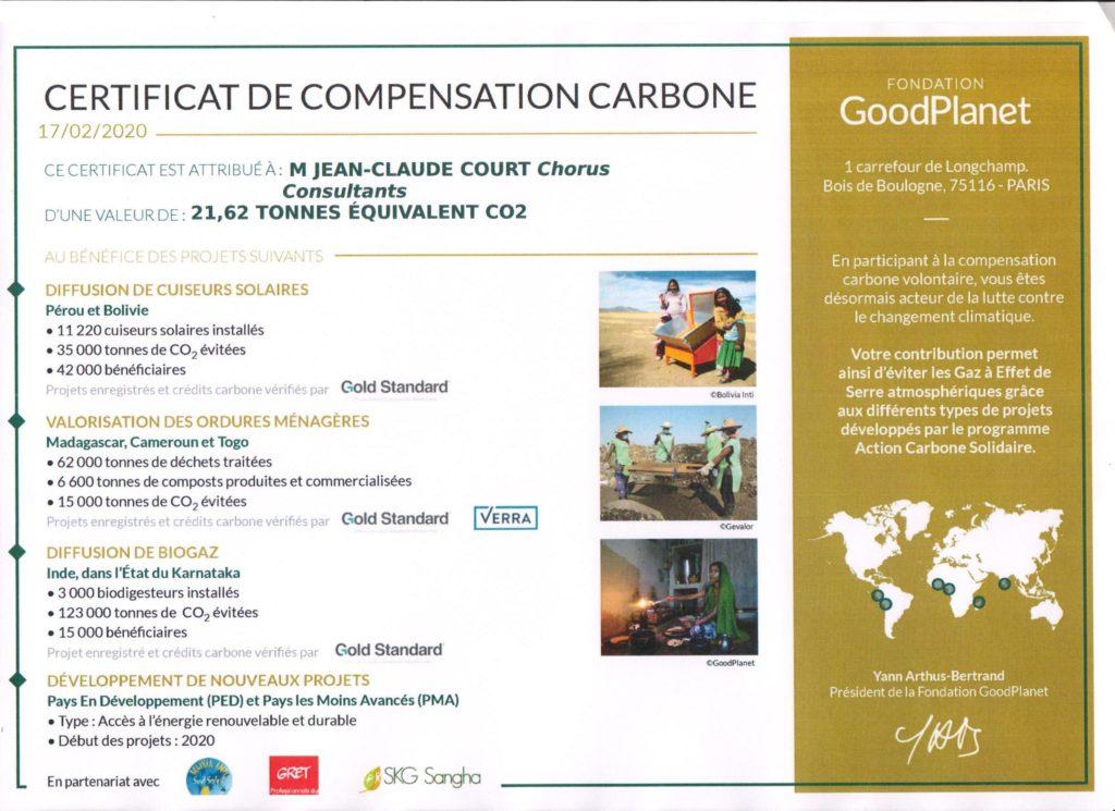 Certificat de notre compensation carbone 2020