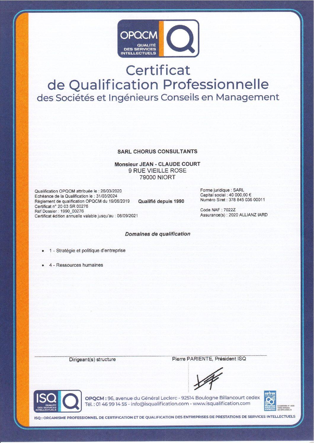 certification OPQCM qaulification professionnelle prestations de services intellectuels